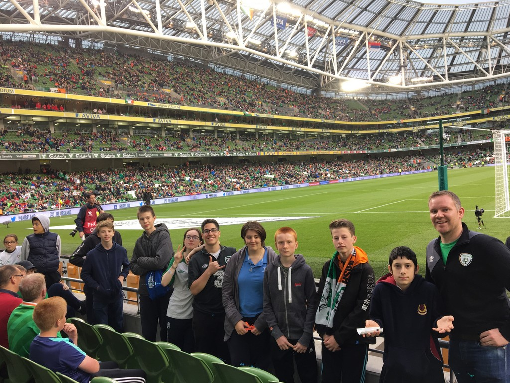 Stratford footballers at the Aviva to see Ireland versus Serbia Photo: Ms. Donohoe