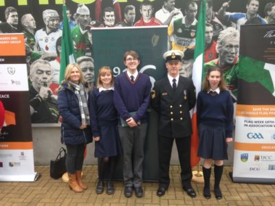 Student Council prefects accept tricolour at the National Flag Presentation Ceremony
