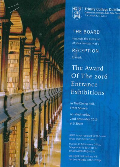 Rory Murphy (2016) awarded an Entrance Exhibition Award by Trinity College