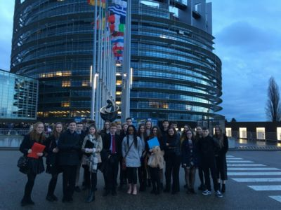 Students vote and speak in the Chamber of the European Parliament in Strasbourg