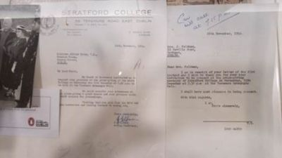 Stratford College featured in Alfie Byrne memos on display in Easons