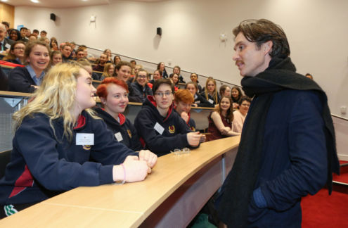 Stratford College students meet actor, Cillian Murphy Photo: Galway Bay FM
