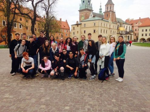 Stratford College students outside Wawel Castle in Krakow.<br />Photo: unknown!