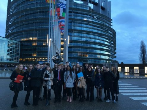 TYs and some 5th Years at the European Parliament in Strasbourg.<br />Photo: Ms. Kenny