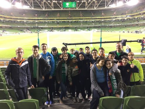 Stratford footballers at the Aviva to see Ireland versus Serbia Photo: someone!