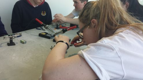 TY students make an LED Torch at a Makeshop workshop Photo: Ms Finnegan