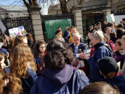 Stratford students and teachers talk to Minister Richard Bruton TD at Schools Strike 4 Climate protest