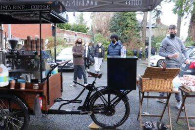 Barista Bike serves up coffee, hot chocolate and doughnuts on #GRMA Day