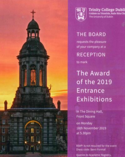 Stratford past pupil (2019) awarded Trinity College Dublin Entrance Exhibition